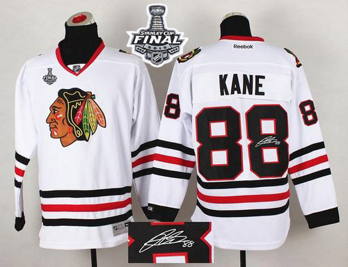 Blackhawks #88 Patrick Kane White Autographed 2015 Stanley Cup Stitched NHL Jersey