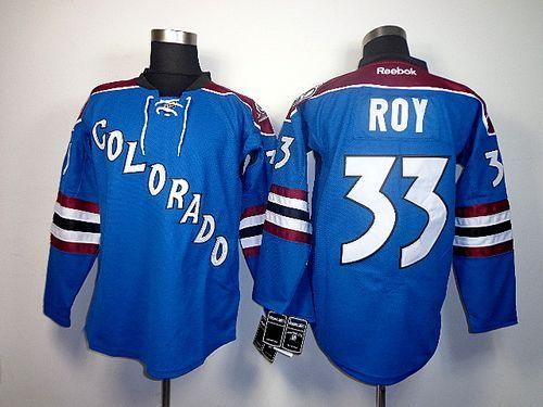 Avalanche #33 Patrick Roy Blue Third Stitched NHL Jersey