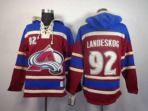 Avalanche #92 Gabriel Landeskog Red Sawyer Hooded Sweatshirt Stitched NHL Jersey