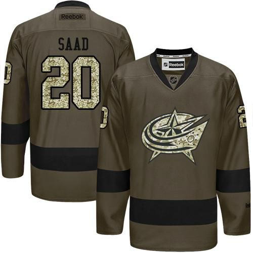 Blue Jackets #20 Brandon Saad Green Salute to Service Stitched NHL Jersey