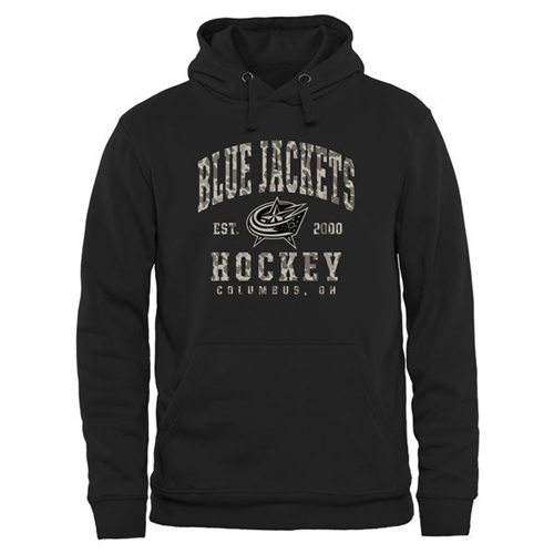 Men's Columbus Blue Jackets Black Camo Stack Pullover Hoodie