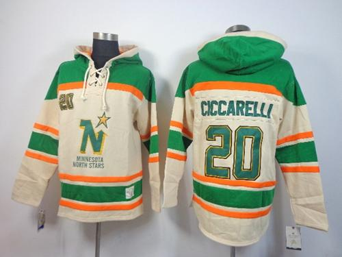 Stars #20 Dino Ciccarelli Cream Sawyer Hooded Sweatshirt Stitched NHL Jersey