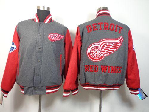 Detroit Red Wings Blank Satin Button-Up Grey NHL Jacket