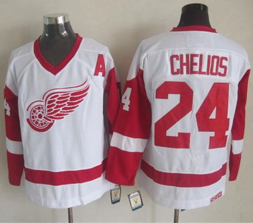Red Wings #24 Chris Chelios White CCM Throwback Stitched NHL Jersey