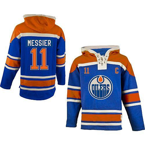 Oilers #11 Mark Messier Light Blue Sawyer Hooded Sweatshirt Stitched NHL Jersey