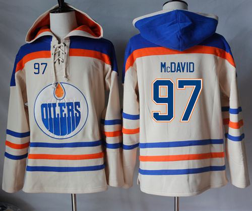 Oilers #97 Connor McDavid Cream Sawyer Hooded Sweatshirt Stitched NHL Jersey