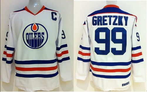 Oilers Wayne Gretzky #99 Stitched White CCM Throwback NHL Jersey