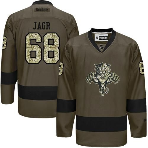 Panthers #68 Jaromir Jagr Green Salute to Service Stitched NHL Jersey