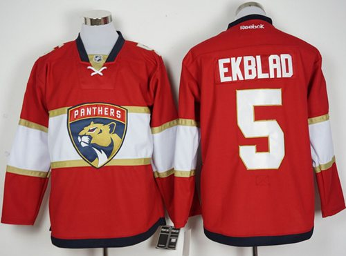 Panthers #5 Aaron Ekblad Red New Stitched NHL Jersey