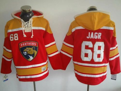 Panthers #68 Jaromir Jagr Red/Gold Sawyer Hooded Sweatshirt Stitched NHL Jersey