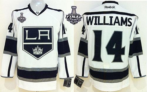 Kings #14 Justin Williams White 2014 Stanley Cup Finals Stitched NHL Jersey