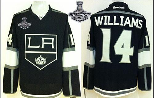 Kings #14 Justin Williams Black 2014 Stanley Cup Champions Stitched NHL Jersey