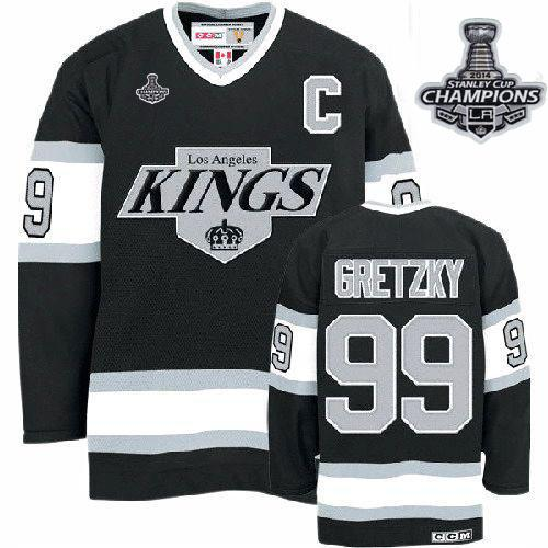 Kings #99 Wayne Gretzky Black CCM Throwback 2014 Stanley Cup Champions Stitched NHL Jersey