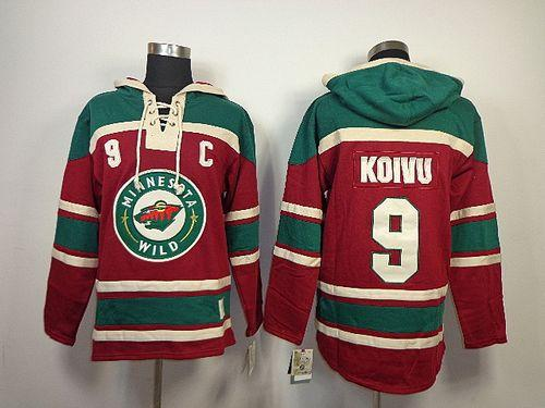 Wild #9 Mikko Koivu Red Sawyer Hooded Sweatshirt Stitched NHL Jersey