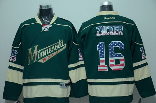 Wild #16 Jason Zucker Green USA Flag Fashion Stitched NHL Jersey
