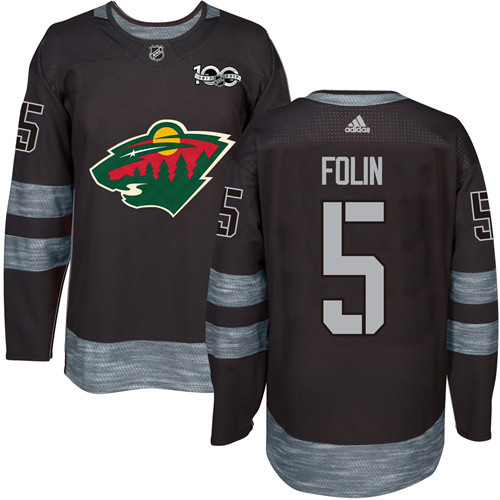 Wild #5 Christian Folin Black 1917-2017 100th Anniversary Stitched NHL Jersey