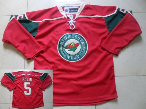 Wild #5 Christian Folin Red Stitched NHL Jersey