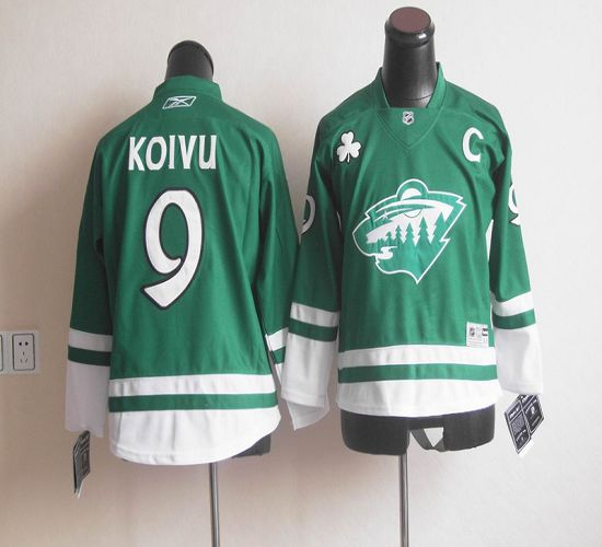 Wild St Patty's Day #9 Mikko Koivu Green Stitched NHL Jersey