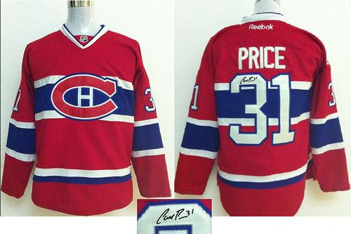 Canadiens #31 Carey Price Red Autographed Stitched NHL Jersey
