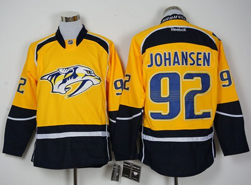 Predators #92 Ryan Johansen Yellow Home Stitched NHL Jersey