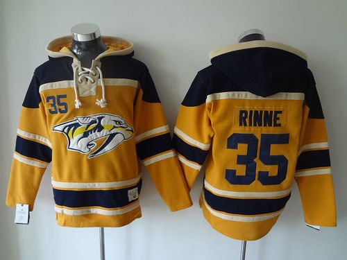 Predators #35 Pekka Rinne Yellow Sawyer Hooded Sweatshirt Stitched NHL Jersey