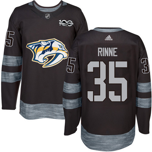Predators #35 Pekka Rinne Black 1917-2017 100th Anniversary Stitched NHL Jersey