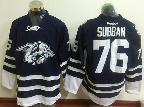 Predators #76 P.K Subban Blue Third Stitched NHL Jersey