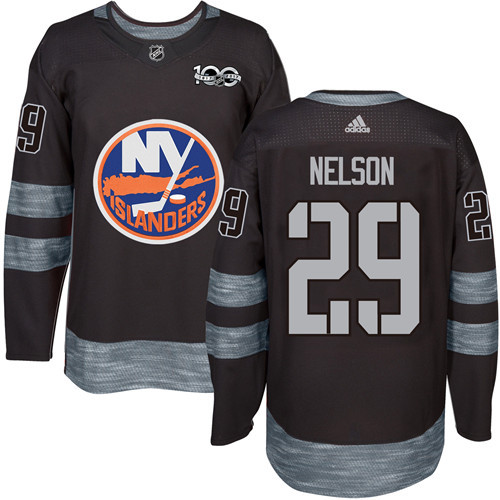 Islanders #29 Brock Nelson Black 1917-2017 100th Anniversary Stitched NHL Jersey