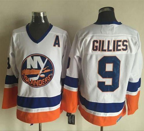 Islanders #9 Clark Gillies White CCM Throwback Stitched NHL Jersey