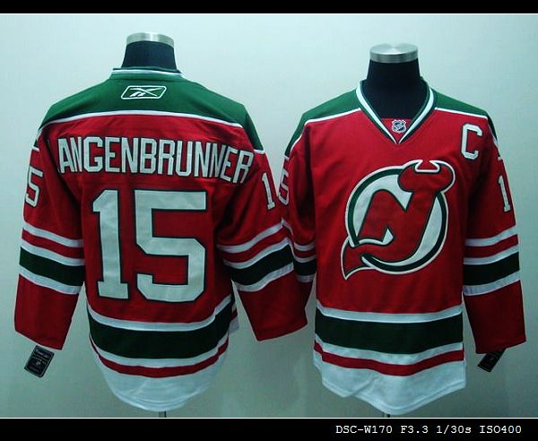 Devils #15 Jamie Langenbrunner Stitched Red and Green CCM Throwback NHL Jersey