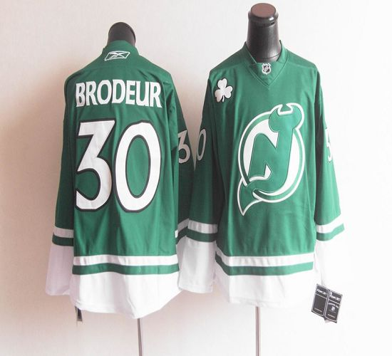 Devils St Patty's Day #30 Martin Brodeur Green Stitched NHL Jersey