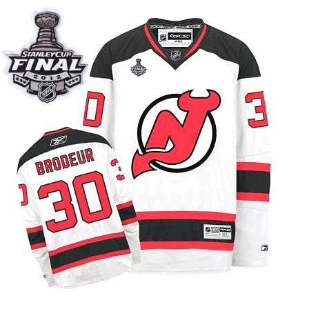 Devils #30 Martin Brodeur 2012 Stanley Cup Finals White Stitched NHL Jersey