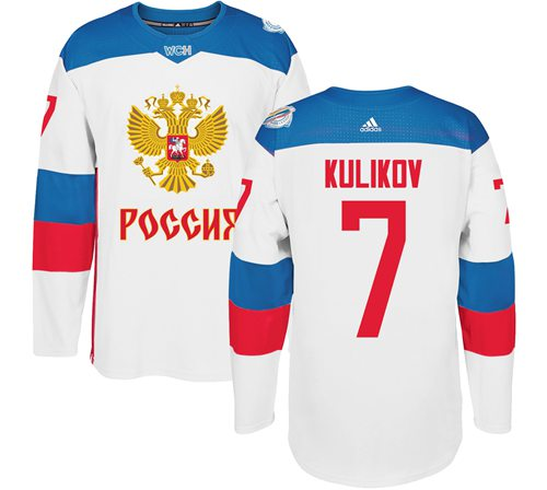 Team Russia #7 Dmitri Kulikov White 2016 World Cup Stitched NHL Jersey