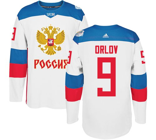 Team Russia #9 Dmitry Orlov White 2016 World Cup Stitched NHL Jersey