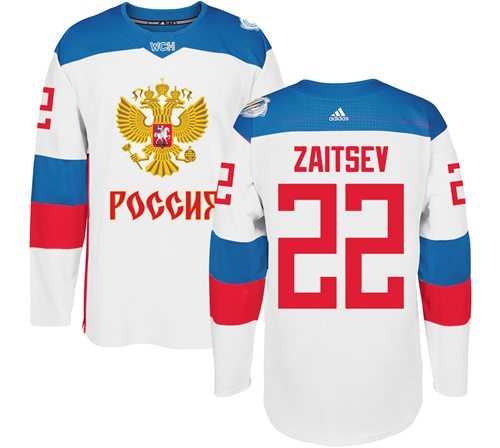 Team Russia #22 Nikita Zaitsev White 2016 World Cup Stitched NHL Jersey