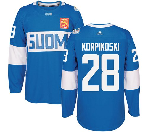 Team Finland #28 Lauri Korpikoski Blue 2016 World Cup Stitched NHL Jersey