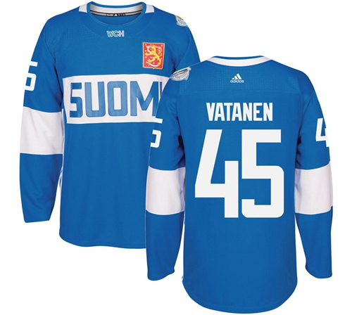 Team Finland #45 Sami Vatanen Blue 2016 World Cup Stitched NHL Jersey