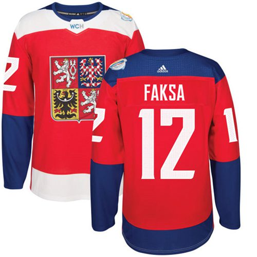 Team Czech Republic #12 Radek Faksa Red 2016 World Cup Stitched NHL Jersey