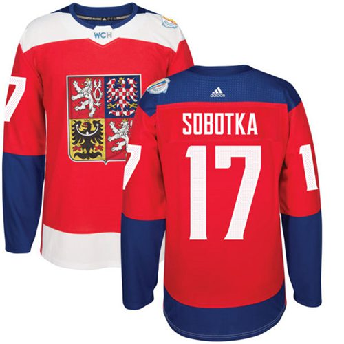Team Czech Republic #17 Vladimir Sobotka Red 2016 World Cup Stitched NHL Jersey