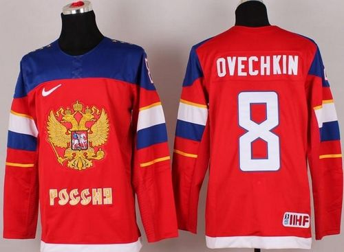 2014 Olympic Team Russia #8 Alexander Ovechkin Red Stitched NHL Jersey