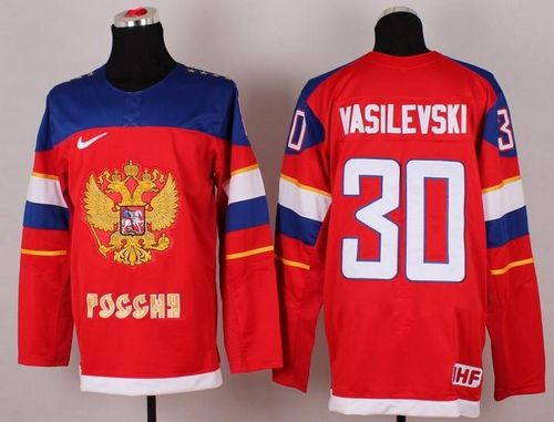 2014 Olympic Team Russia #30 Andrei Vasilevski Red Stitched NHL Jersey
