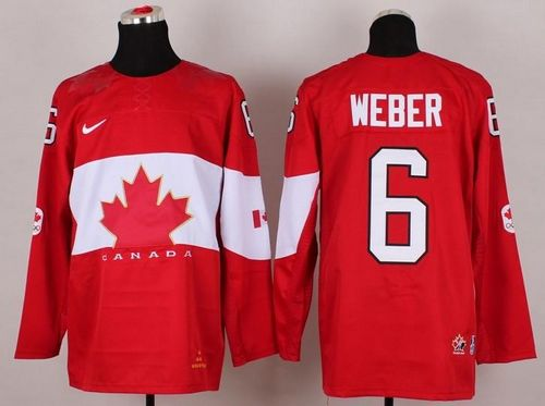 Olympic 2014 CA. #6 Shea Weber Red Stitched NHL Jersey