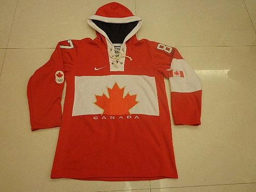 Olympic CA. #87 Sidney Crosby Red Sawyer Hooded Sweatshirt Stitched NHL Jersey
