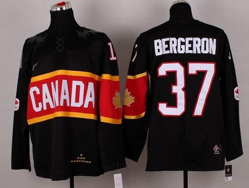 Olympic 2014 CA. #37 Patrice Bergeron Black Stitched NHL Jersey