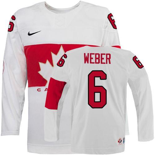 Olympic 2014 CA. #6 Shea Weber White Stitched NHL Jersey