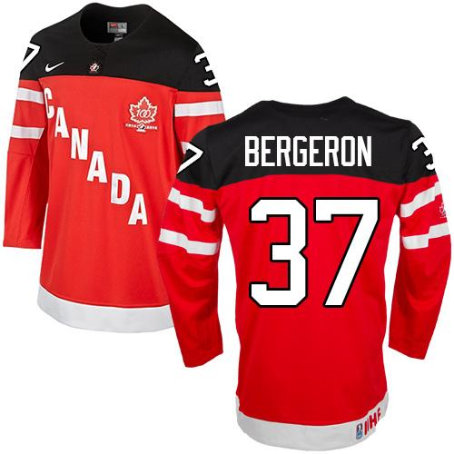 Olympic CA. #37 Patrice Bergeron Red 100th Anniversary Stitched NHL Jersey
