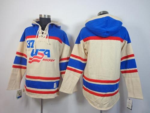 Olympic Team USA Blank Cream Throwback Sawyer Hooded Sweatshirt Stitched NHL Jersey