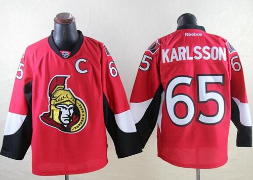 Senators #65 Erik Karlsson Red Home Stitched NHL Jersey