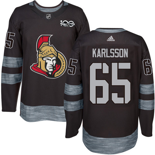 Senators #65 Erik Karlsson Black 1917-2017 100th Anniversary Stitched NHL Jersey