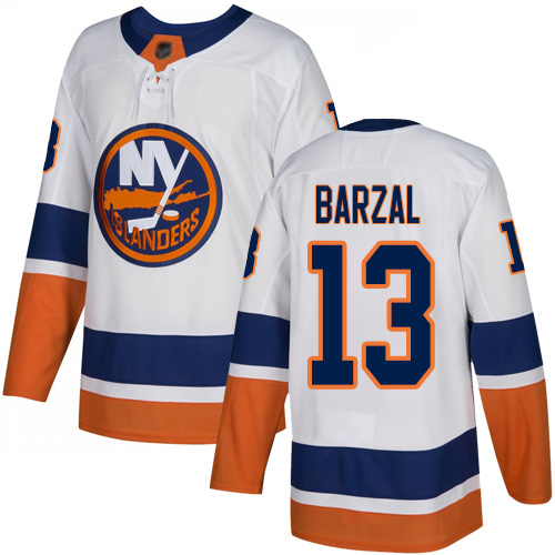 Men's Adidas New York Islanders #13 Mathew Barzal White Stitched NHL Jerse
